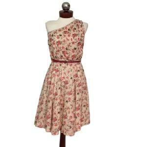 MANGO one shoulder Floral dress belted xsmall